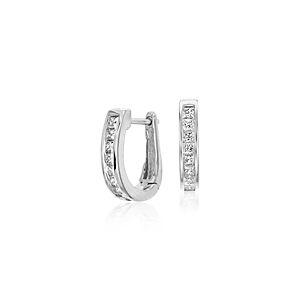 Channel-Set Diamond Hoop Earrings in 18k White Gold (1/2 ct. tw.)