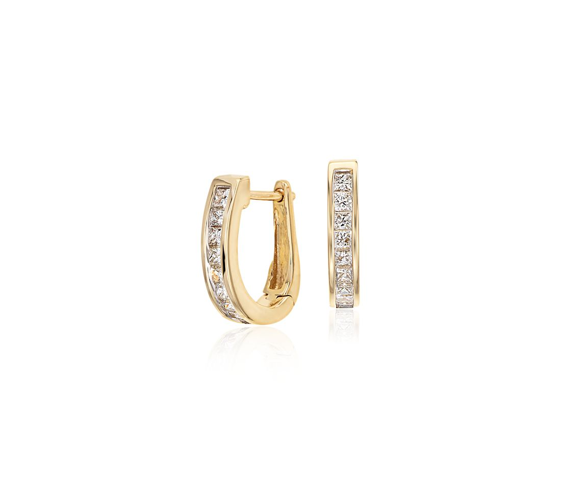 Channel Set Diamond Hoop Earrings In 18k Yellow Gold 1 2