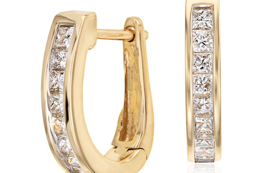 Créoles diamant serti barrette en or jaune 18carats (1/2carat, poids total)