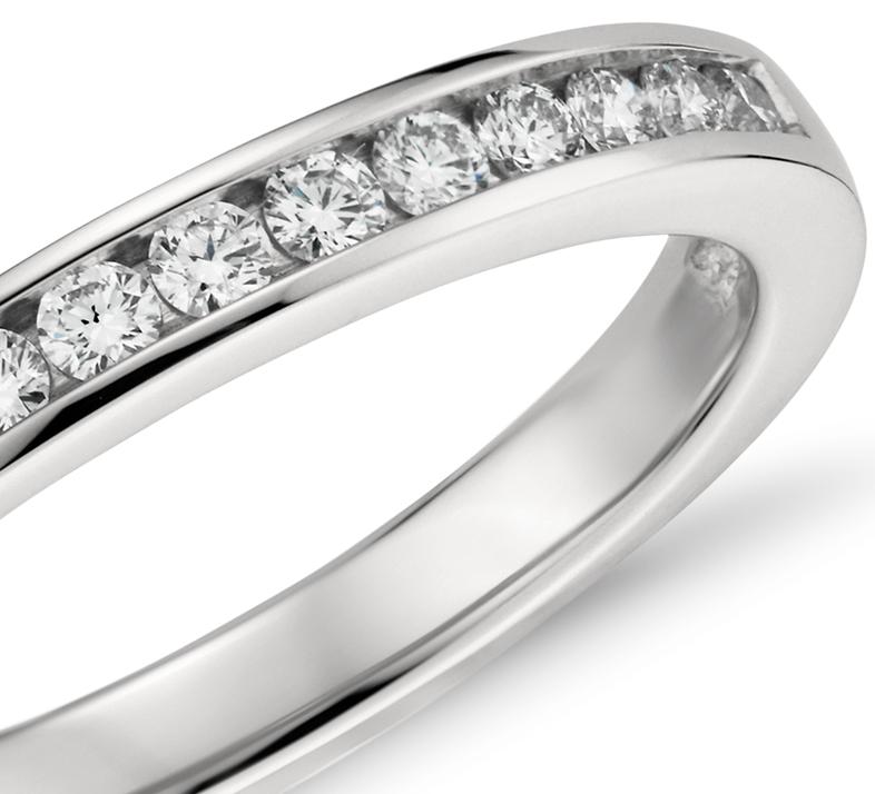 Bague diamants sertis barrette  en platine (1/4carat, poids total)