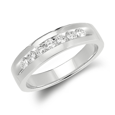 Channel Set Diamond Ring in 14k White Gold 12 ct tw Blue Nile
