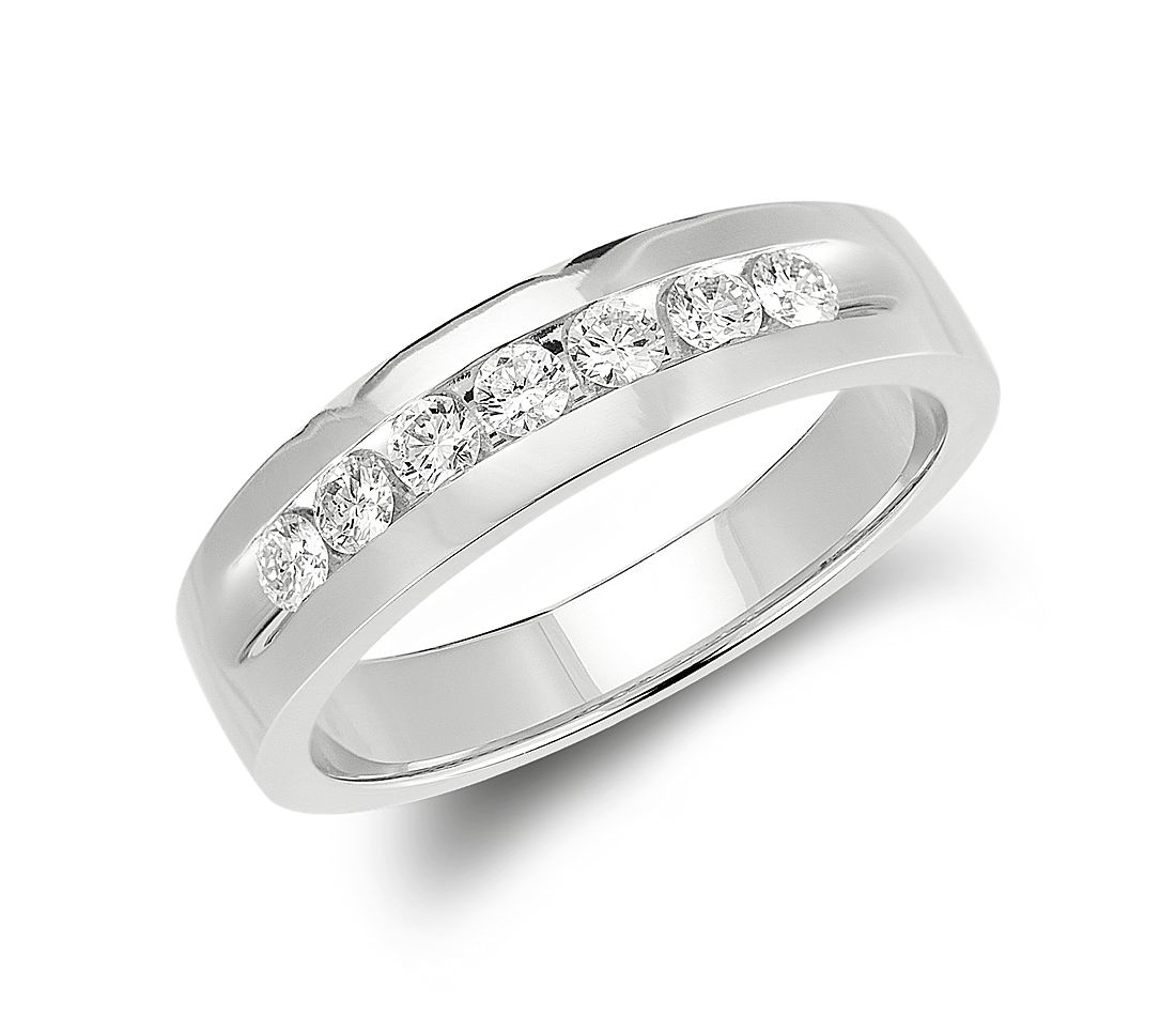 channel set diamond ring in 14k white gold 12 ct tw