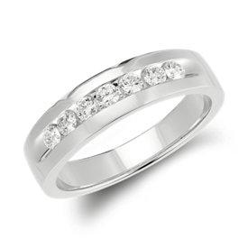 Bague diamants sertis barrette  en or blanc 14carats (1/2carat, poids total)
