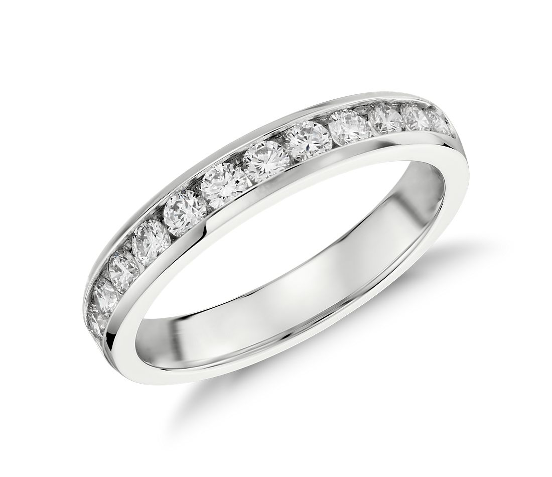 Channel Set Diamond Ring In 14k White Gold 1 2 Ct Tw