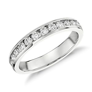 Bague diamants sertis barrette  en or blanc 14 carats (1/2 carat, poids total)