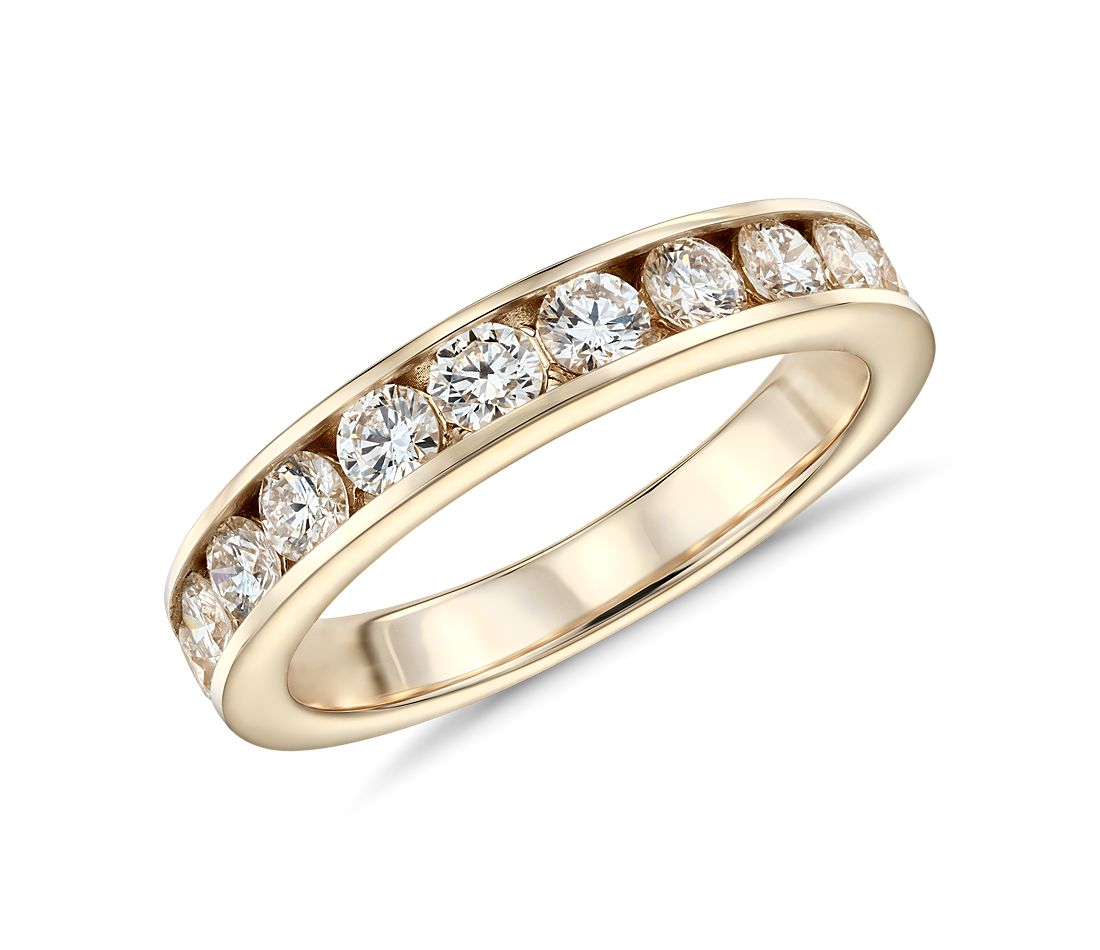 channel set ring in 14k yellow gold 1 ct tw