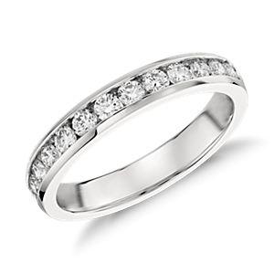 Bague diamants sertis barrette  en platine (1/2carat, poids total)