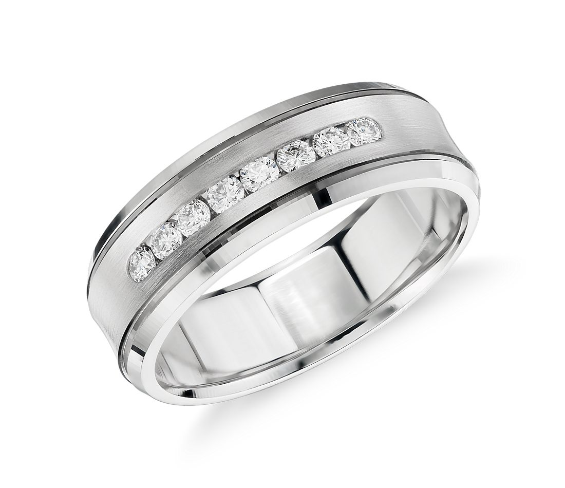 Diamond Channel Set Wedding Ring In 14k White Gold 1 3 Ct Tw