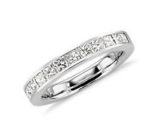 迫鑲公主方形鑽石鉑金戒指(1 克拉總重量)