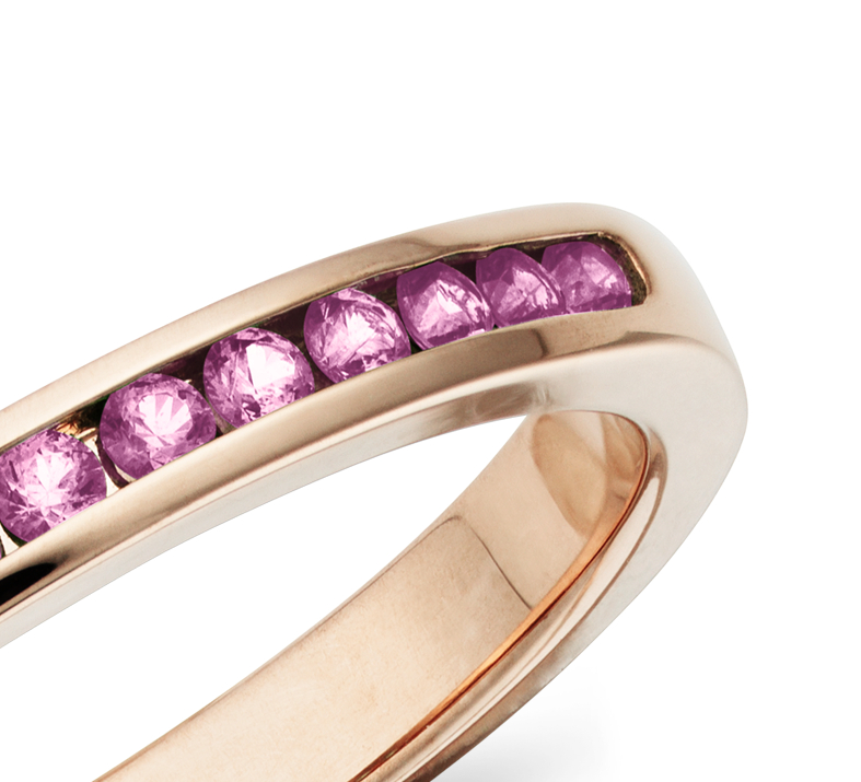 Channel Set Pink Sapphire Ring in 14k Rose Gold
