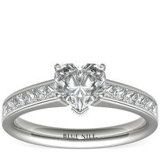 铂金公主方形切割槽镶钻石订婚戒指(1/2 克拉总重量)