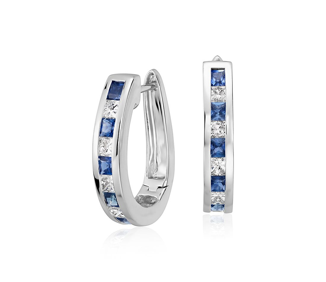 Channel Set Sapphire And Diamond Hoop Earrings In 14k