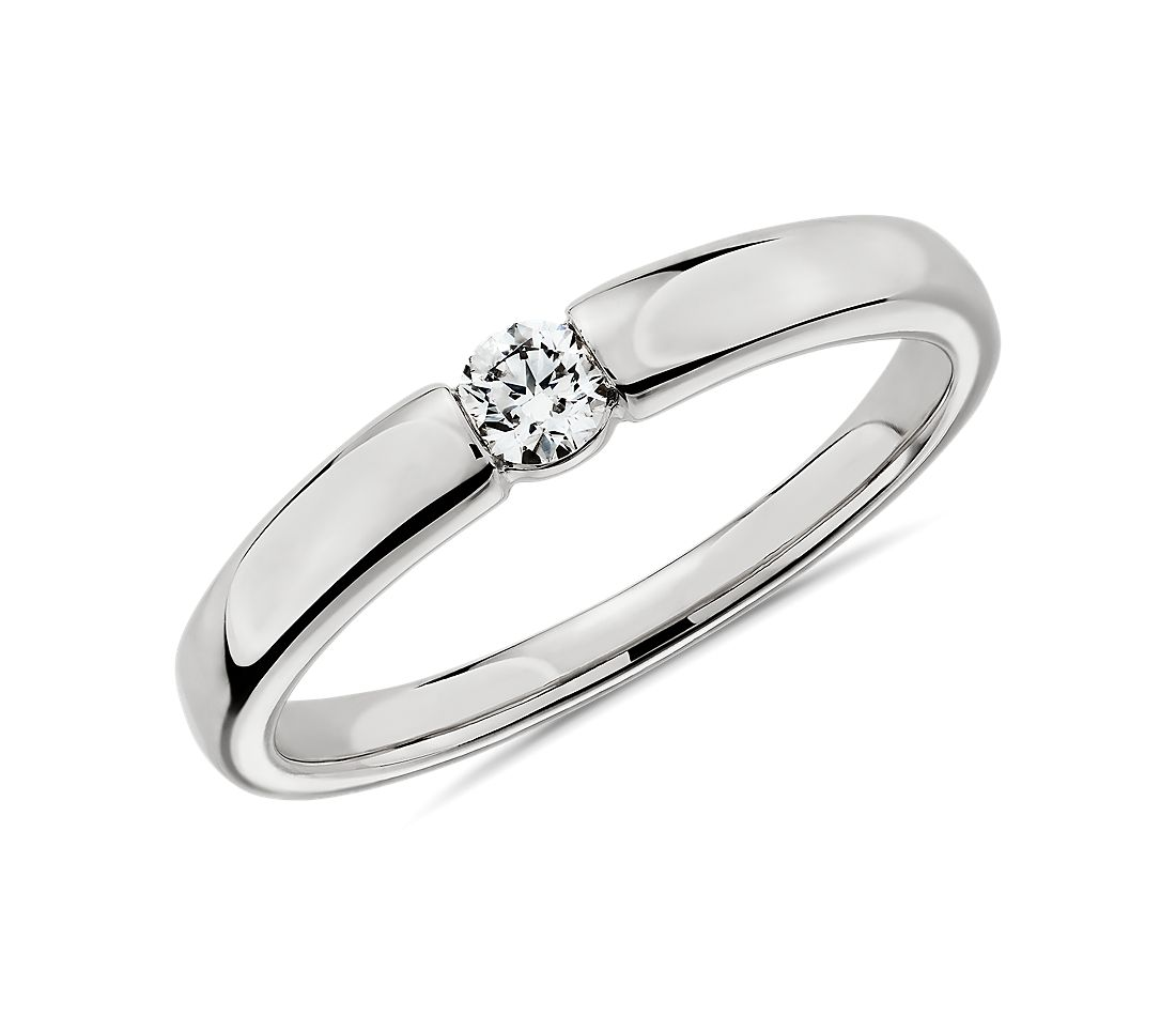 Channel-Set Single Diamond Wedding Ring in 14k White Gold - I/SI2 (0.09 ct. tw.)