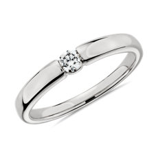 NEW Channel-Set Single Diamond Wedding Ring in 14k White Gold - I/SI2 (0.09 ct. tw.)