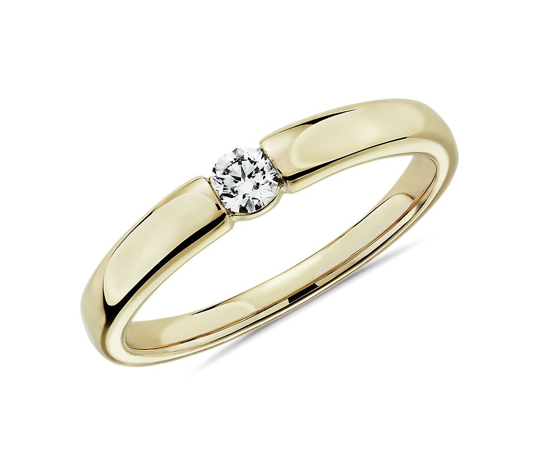 Channel-Set Single Diamond Wedding Ring in 14k Yellow Gold - I/SI2 (0.09 ct. tw.)
