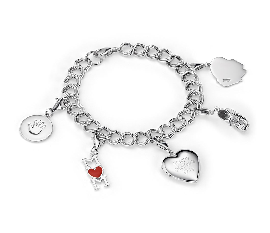 Happy Mother's Day Charm Bracelet in Sterling Silver - Girl