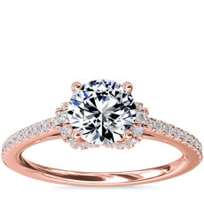 Petite Chevron Cathedral Diamond Engagement Ring in 14k Rose Gold (1/4 ct.tw.)