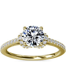 NEW Petite Chevron Cathedral Diamond Engagement Ring in 14k Yellow Gold (1/4 ct.tw.)