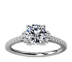 Petite Chevron Cathedral Diamond Engagement Ring in Platinum (1/4 ct.tw.)