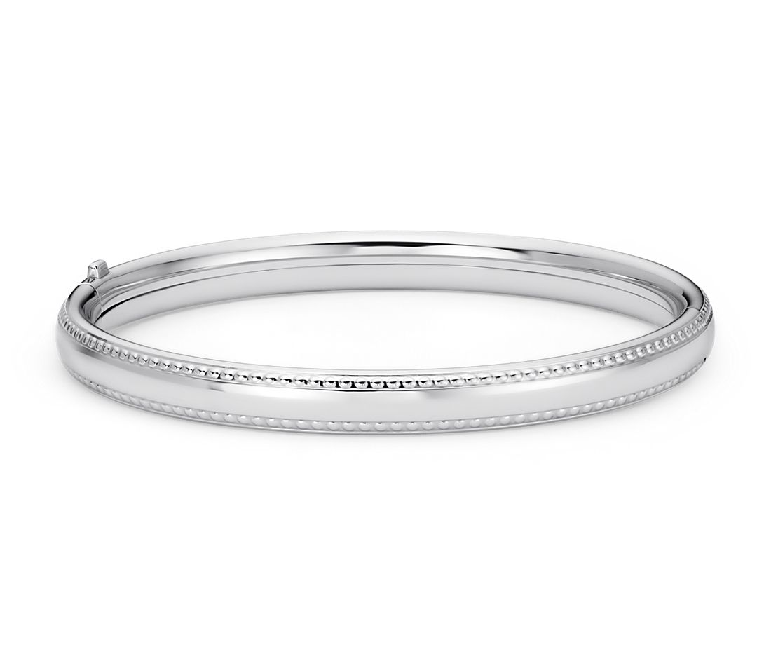 Children's Beaded Bangle Bracelet in Sterling Silver