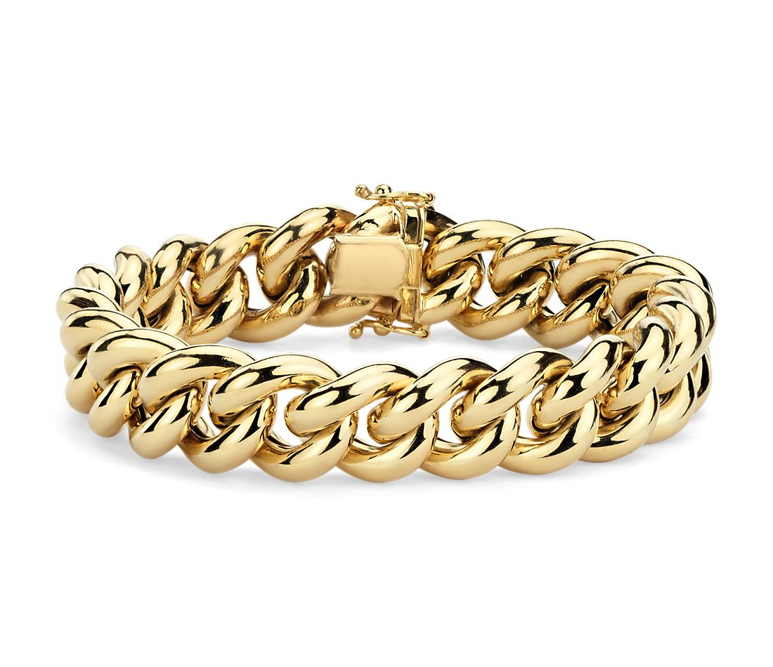 Oversized Curb Chain Bracelet In 14k Italian Yellow Gold
