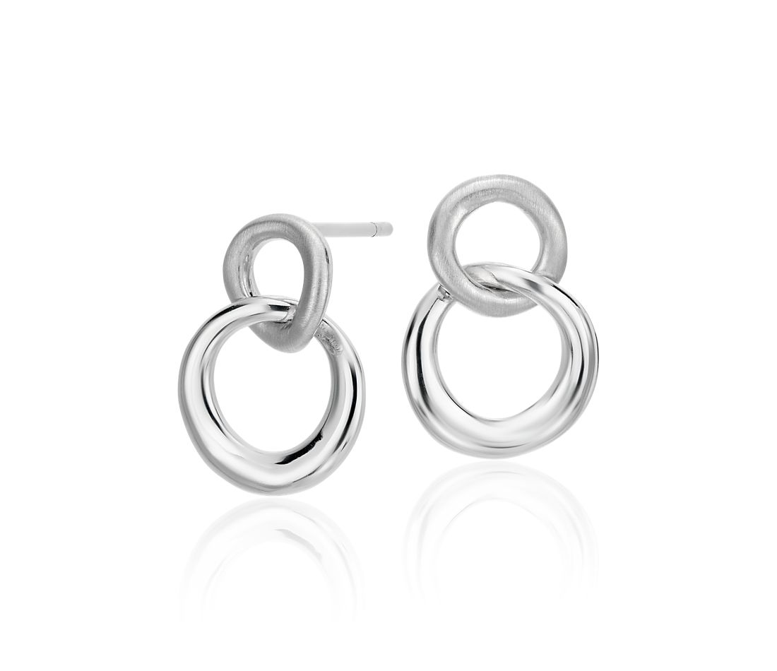 Petite Double Circle Drop Earrings in Sterling Silver