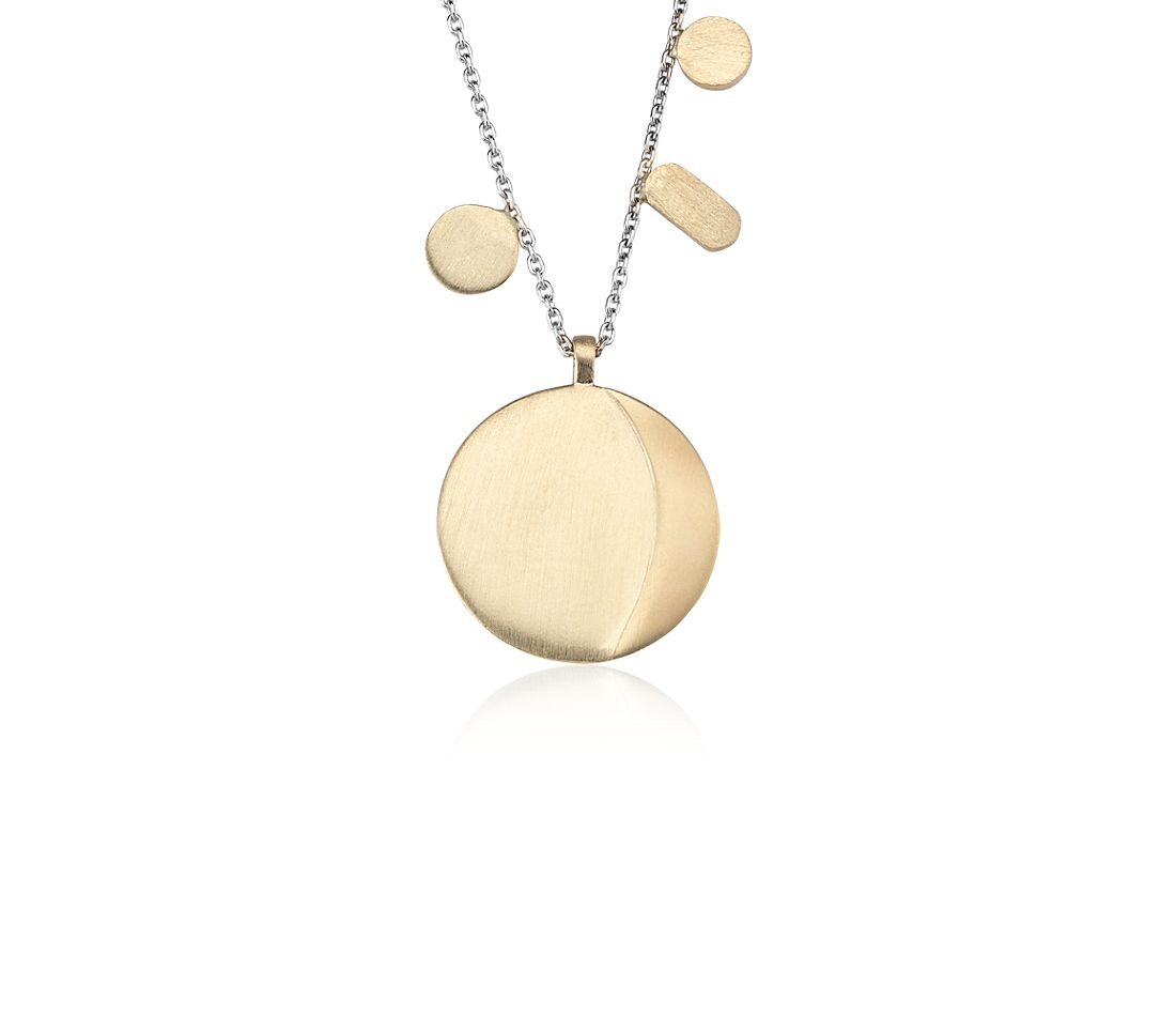 Circle Pendant in 14k Yellow and White Gold