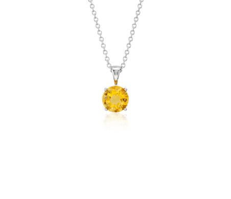Citrine Solitaire Pendant in 14k White Gold (7mm)