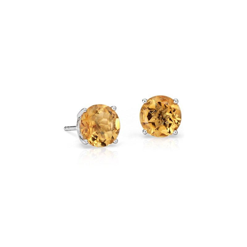 Citrine Stud Earrings in 14k White Gold (7mm)