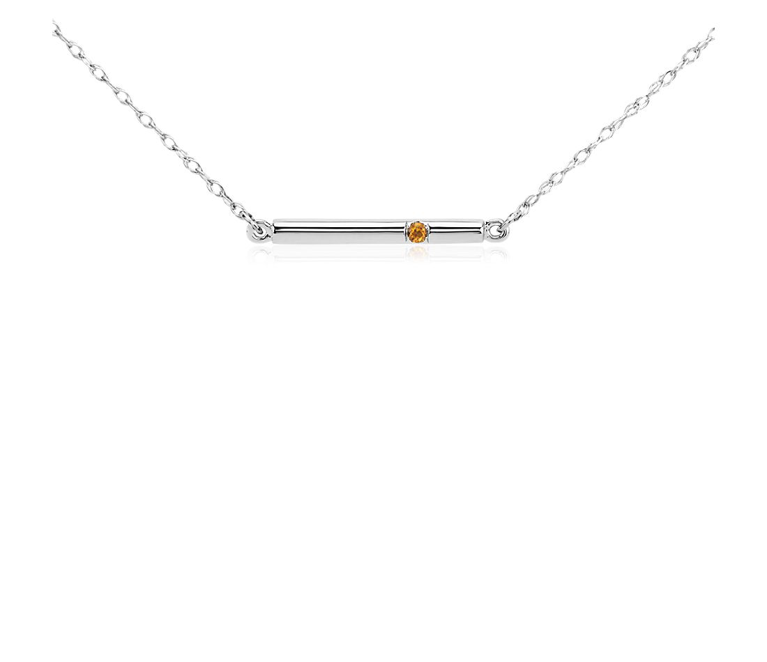Citrine Bar Necklace in 14k White Gold
