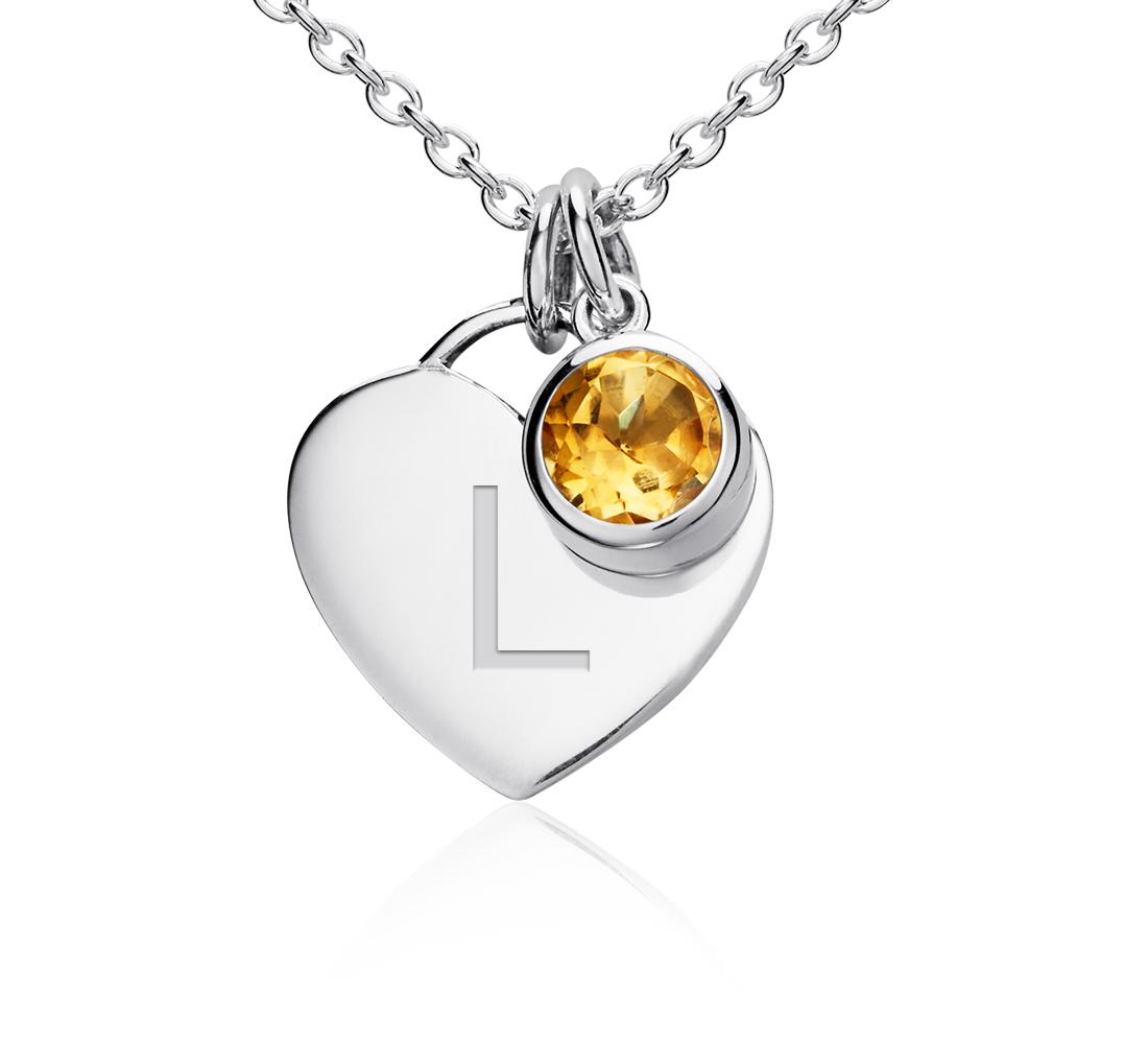 Colgante con forma de corazón para piedra natal de cuarzo citrino en plata de ley (Noviembre) (4,5mm)