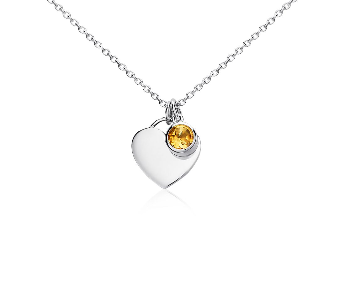 Citrine Heart Pendant in Sterling Silver (November) (4.5mm)