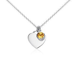 Citrine Birthstone Heart Pendant in Sterling Silver (November) (4.5mm)