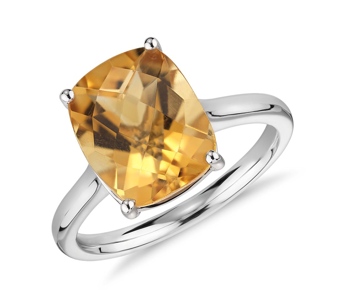 Citrine Cushion Cocktail Ring In 14k White Gold 11x9mm