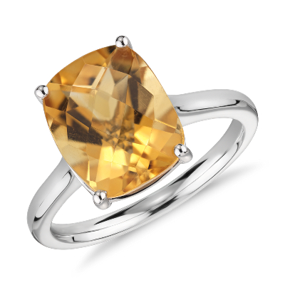 bague or blanc citrine