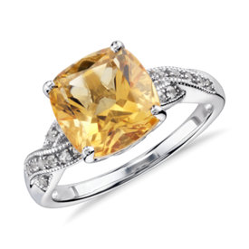 Citrine and White Sapphire Ring in Sterling Silver (9x9mm)