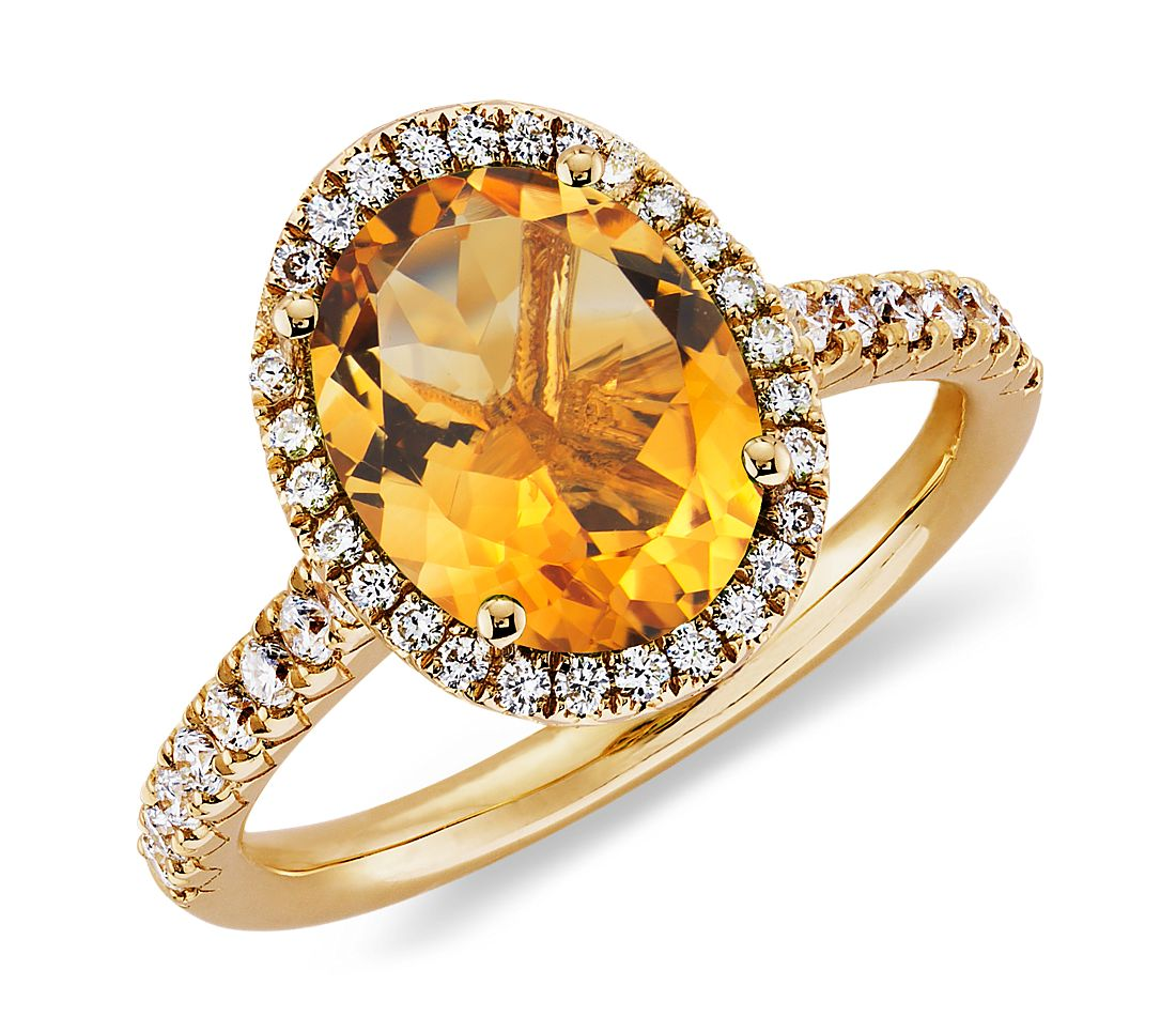 Bague diamant et citrine en or jaune 18 carats (10 x 8 mm)