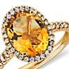 Citrine and Diamond Ring in 18k Yellow Gold (10x8mm)