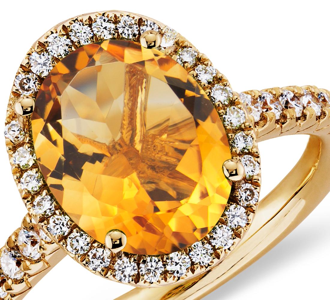 Anillo de diamantes y cuarzo citrino en oro amarillo de 18k (10x8mm)