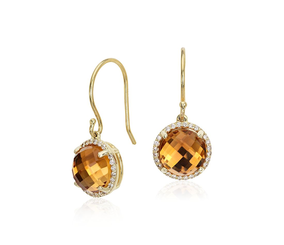 Citrine And Diamond Halo Drop Earrings In 14k Yellow Gold 8mm