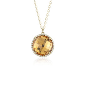 Round Citrine and Diamond Halo Pendant in 14k Yellow Gold (12mm)