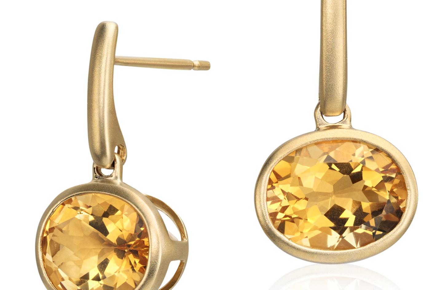 Pendants d'oreilles citrine en or jaune 14carats (10x8mm)