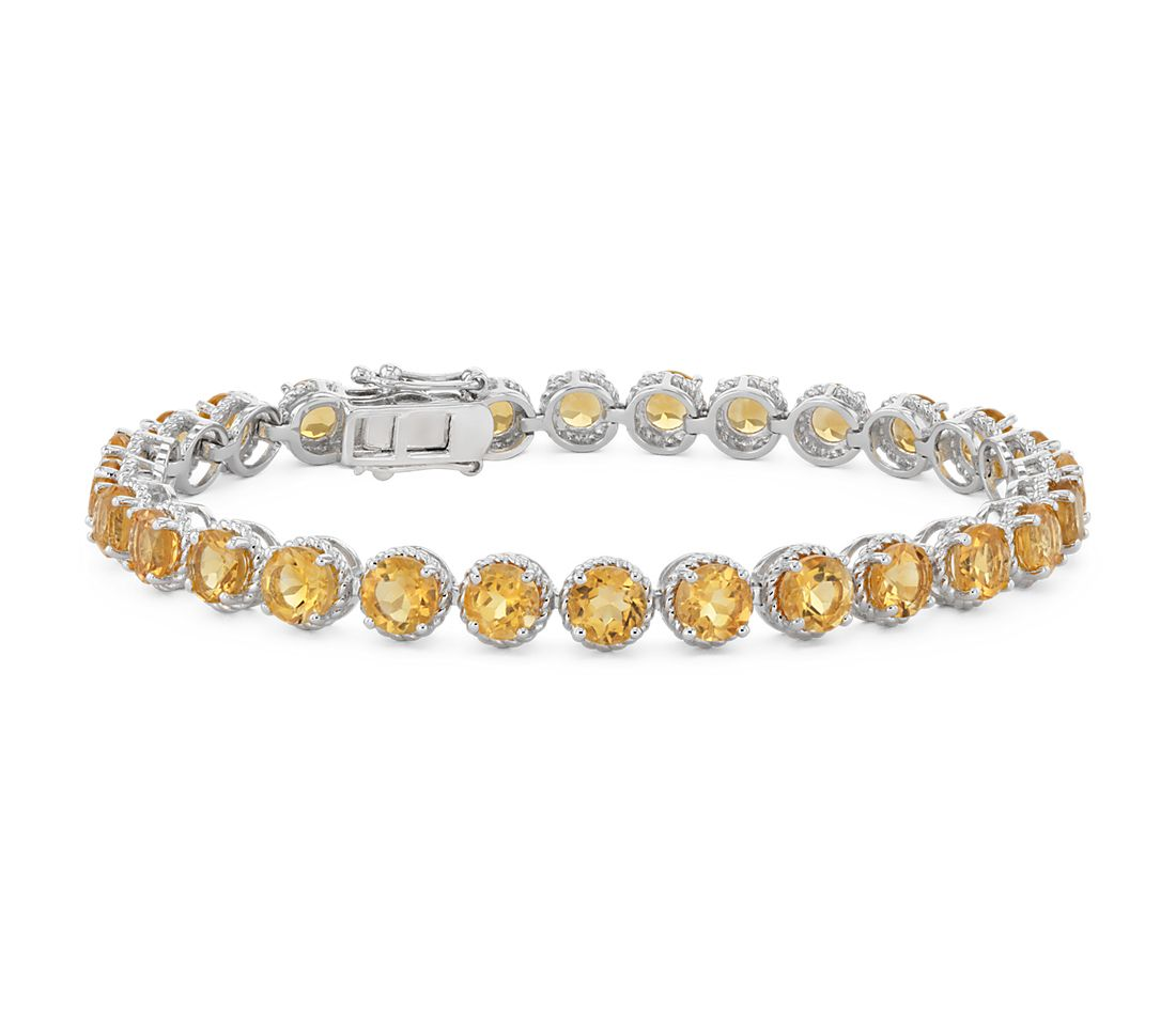 Citrine Round Rope Bracelet in Sterling Silver (5mm)