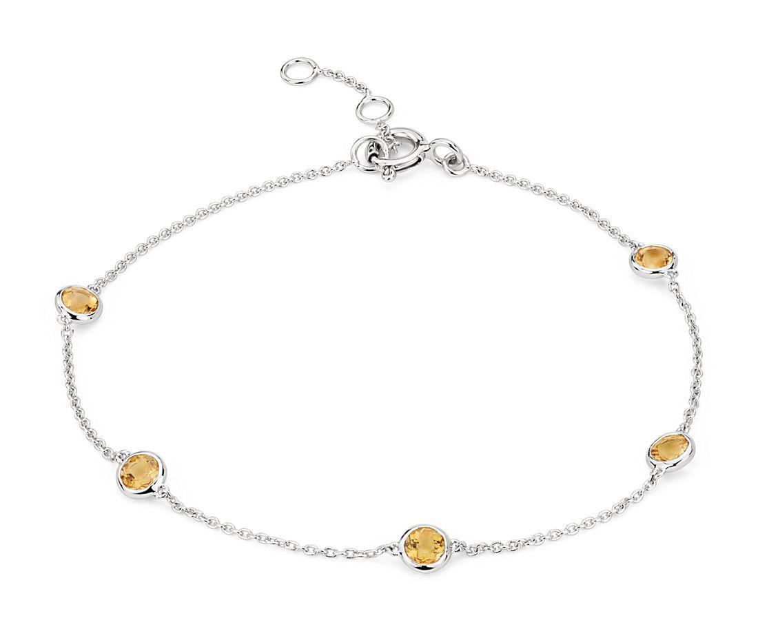 Bracelet citrines serties clos espacées en or blanc 14carats (3mm)