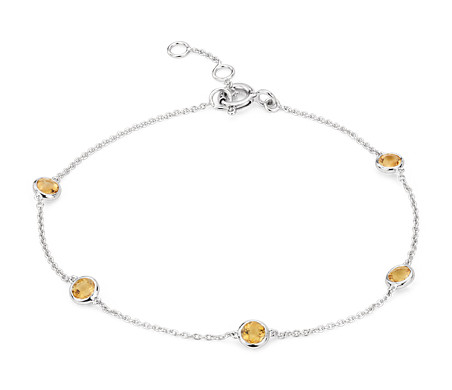 Citrine Stationed Bezel-Set Bracelet in 14k White Gold (3mm)