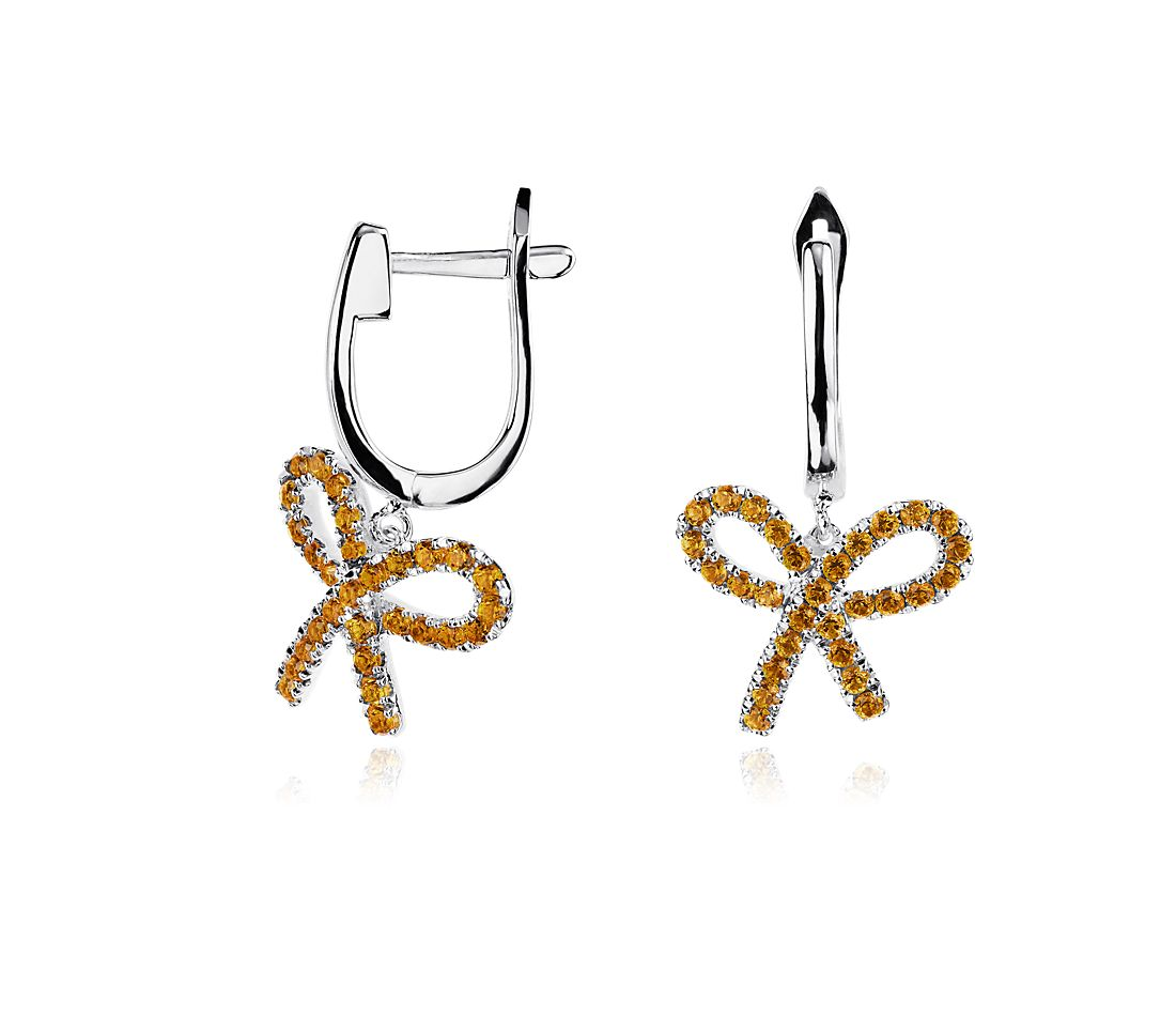 Citrine Bow Earrings in Sterling Silver