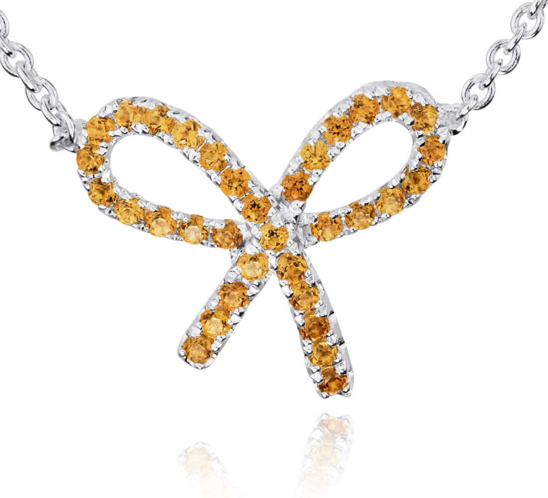 Citrine Bow Pendant in Sterling Silver