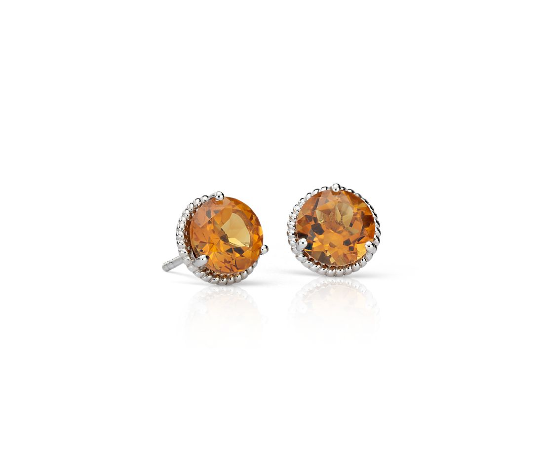 Citrine Rope Stud Earrings In Sterling Silver 7mm