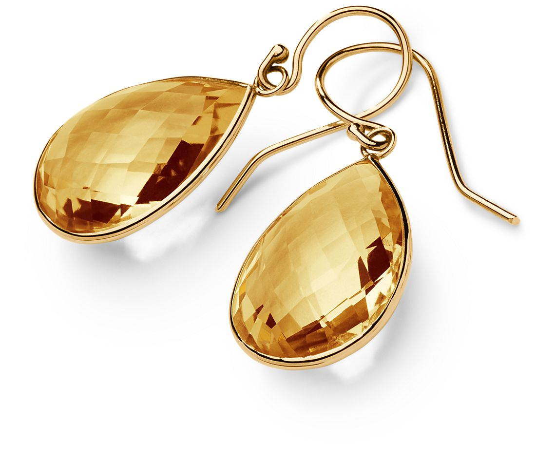 Citrine Drop Earrings in 14k Yellow Gold  (20x15mm)