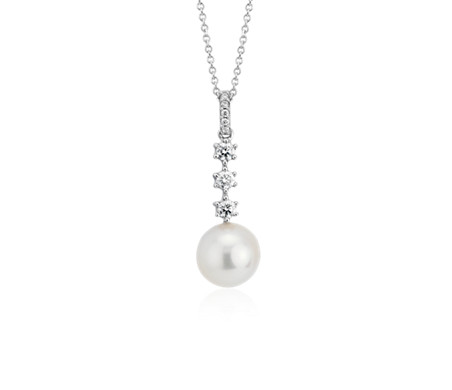 Classic Akoya Cultured Pearl Diamond Drop Pendant in 18k White Gold (9-9.5mm)